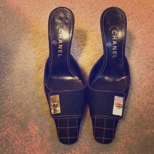 Chanel Black Mule Heels!